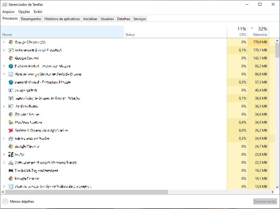 Acelerar o Notebook Gerenciar do tarefas do Windows